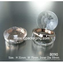 Алмазный простой компактный пудра случай порошок круглый пластиковый косметический контейнер для порошка контейнер для теней для век