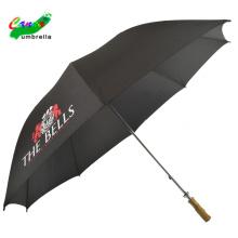 Customized promotional logo prints branded flat wood handle rain sun black umbrellas, waterproof big outdoor sunny umbrella
