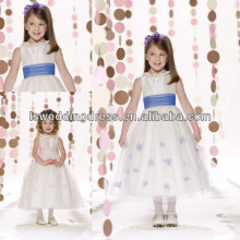 HF2095 Ruffled jewel neckline with gathered organza band sash tulle with handmade flowers zipper back cute flower girl dresses