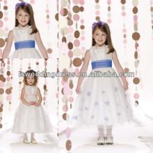 HF2095 Decote de jóias rebocadas com faixa de organza recolhida, faixa de tul com flores artesanais, zíper, costas, bonitos, flor, menina, vestidos