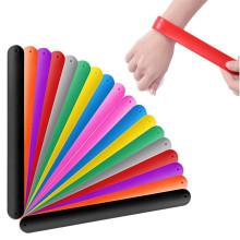 Pulsera de bofetada de silicona en blanco modificada para requisitos particulares / pulsera de bofetada