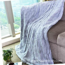 PV Plush Fleece Pressed Design Double Layers Blanket