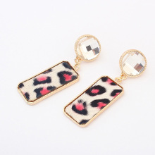 European and American fashion Leopard print gemstone stars luxury metal alloy drop earrings small fashion accessories wholesale