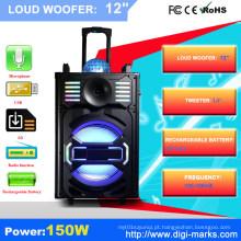 Orador sem fio estereofónico portátil exterior do PA de Bluetooth com diodo emissor de luz