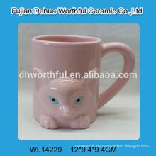 Rosa niedlichen Fuchs geformt Keramik Wasser Tasse mit Griff