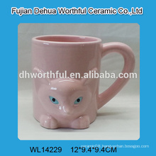 Pink cute fox shaped ceramic water cup with handle