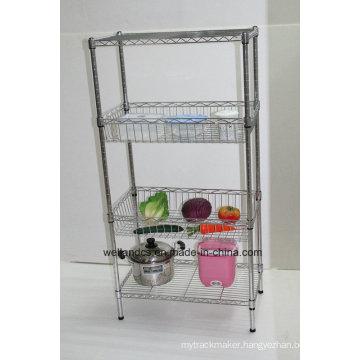 Multifunctional Metal Kitchen Basket Rack for Storing Fruit/Vegetable (BK6035120B4CR)