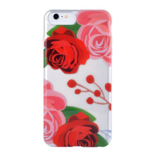 Folha de telefone Green Leaf Red Rose Background para caso IMD iPhone 6S Plus