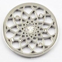 Placa de prata da moeda da flor com cristal branco