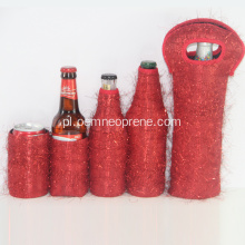 Red Neoprene Beer Bottle Can Cooler Holders Set