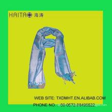 Nueva bufanda de seda natural gruesa de la secuencia de seda azul del estilo-- bufanda con el color sólido