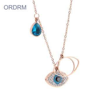 Dainty Rose Gold Blue Crystal Colar Olho do Mal