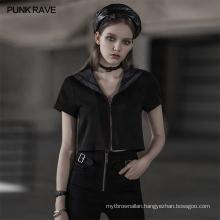 black sailor collar girl uniform jacket OPT-514TDF zipper gothic top