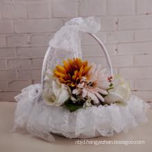 Wedding party lace appliqued bridal decoration wedding flower girl basket
