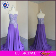 ED Bridal Chiffon Sequins Bodice Front Slit Sweetheart Neckline Ladies Long Evening Party Wear Gown