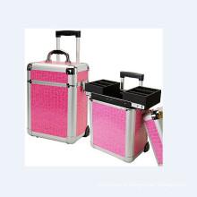 Caixa de carrinho de cosméticos rosa de alumínio (hx-L0924)