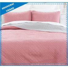 Solid Pink Reversible Polyester gesteppte Bettdecke Set