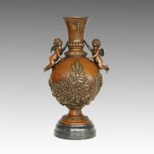 Vase Statue Angle Cupid Bronze Jardiniere Sculpture, Nick TPE-558