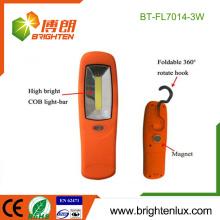 Factory Wholesale 3 * AAA Battery Powered ABS Matériel en plastique High Power Portable 3watt Cob conduit lumière de travail avec crochet et aimant