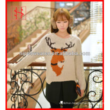 Lady christmas jumper jacquard sweater with deer