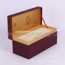 Caja de regalo de vino de papel de vino de caja de embalaje de papel rojo de lujo