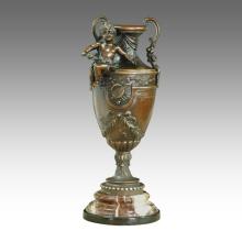 Estatua de florero escultura niño tallado escultura de bronce TPE-424/425