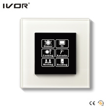 Interruptor de iluminação de rede Painel de toque com estrutura de vidro de controle de cena (HR1000-GL-S-CAN)