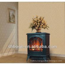 wood wide fireplace