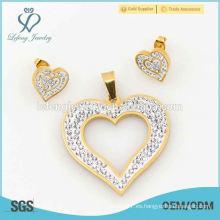 Joyería de corazón conjuntos con doble cristal, diseño perfecto 316l conjuntos de joyería de acero inoxidable