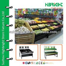 Carrinho de exibição de frutas e vegetais para shopping