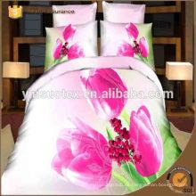 100% Poliéster Ropa de cama al por mayor de la tela de la manera de la manera del color de rosa 3D