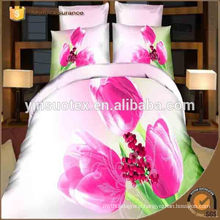 100% Polyester Wholesale fabric fashion pink design luxury home textile 3D bedding set