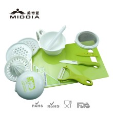 Kitchen Food Mill with Ceramic Knife & Peeler & Chopping Board Set