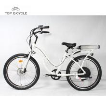 Bicyclettes électriques de cruiser de plage de moteur de moyeu arrière blanc de 1000w à vendre
