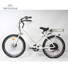 White 1000w rear hub motor electric beach cruiser bicycles for sale