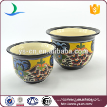 YSfp0009 Set of 2 handmade ceramic flower pot with round shape