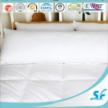 Almohada larga de plumas de pato de tela de algodón, almohada de microfibra para cama gemela