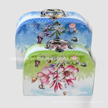 Impressão de papel de papelão mala Caixa de armazenamento de brinquedos Multifunction Paper Suitcase