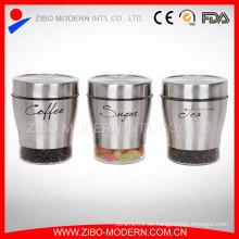 Venta caliente de acero inoxidable recubrimiento de novedad moderna ronda de galletas de vidrio y tapas tapas