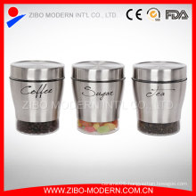 Hot Sale Stainless Steel Coating Modern Novelty Round Cookie Glass Jars and Lids