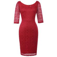 Kate Kasin Mujer 3/4 cuello de manga cuello Hips-envuelto rojo encaje Bodycon lápiz vestido KK000506-2