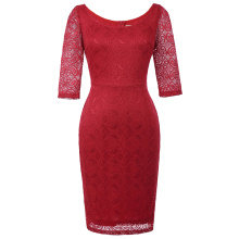 Kate Kasin Women 3/4 Sleeve Crew Neck Hips-Wrapped Red Lace Bodycon Pencil Dress KK000506-2