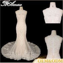 Tiamero brand back zipper closed Round collar off-shoulder sleeveless mermaid fish tail bride wedding dresses