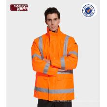 Hola vis uniformes de seguridad construcción workwear acolchado chaqueta con cinta reflectante