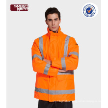 Hi vis safety uniforms construction workwear padded jacket with reflective tape