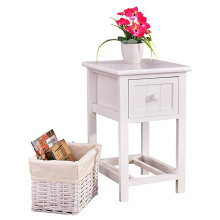 White Nightstand End Side Table Bedroom Home Storage Furniture with 1 Wicker Basket