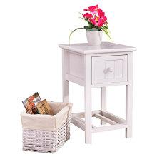 Белая тумбочка для спальни, тумбочка, мебель для дома с 1 плетеной корзиной