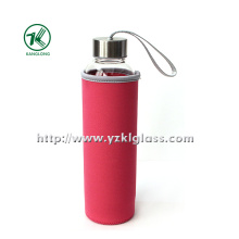 Glass Bottle with Neoprene Fabrication Oversleeve Stainless Steel Lid,
