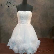 2016 Yiai vestido de boda corto Fotos verdaderas con vestido de bola de la flor
