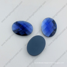 China Factory Flat Back Decorative Capri Blue Oval Glass Beads
